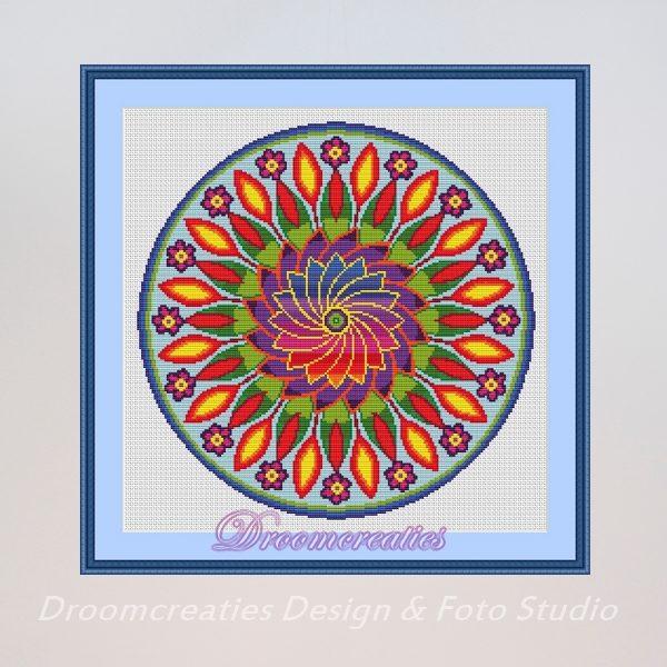 borduurpatroon mandala flower power