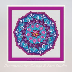 borduurpatroon mandala pink lotus