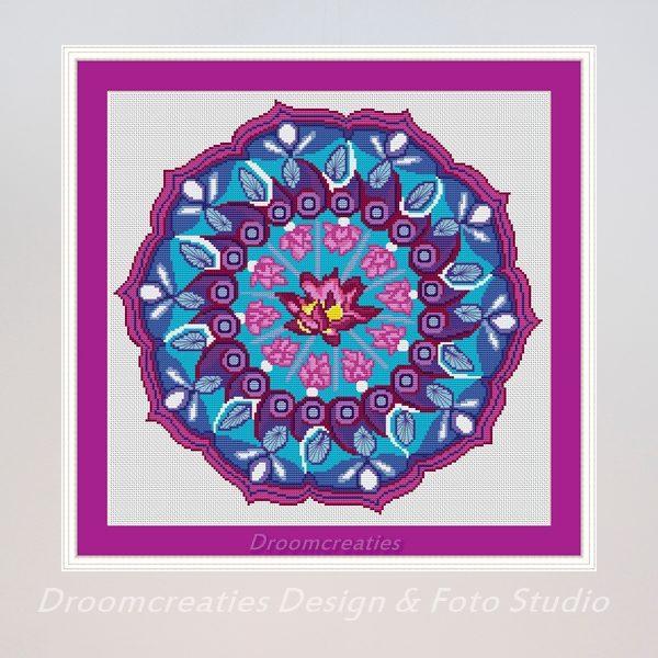 borduurpatroon mandala pink lotus