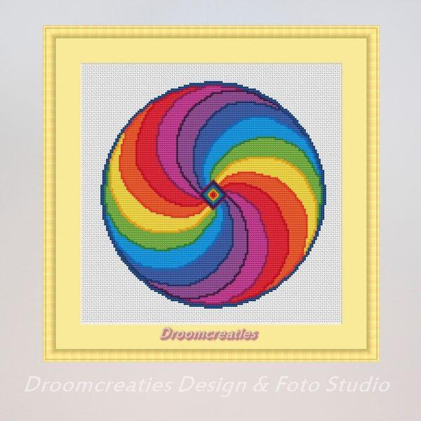 borduurpatroon mandala rainbow