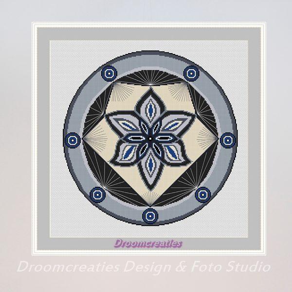 borduurpatroon mandala spotlight grijs