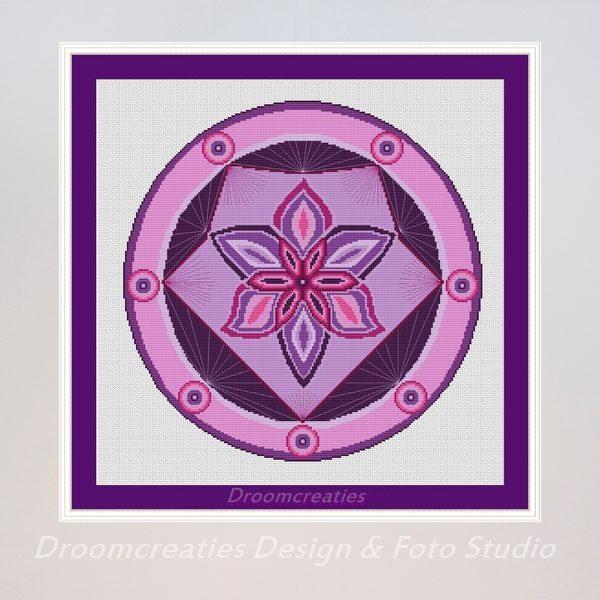 borduurpatroon mandala spotlight paars