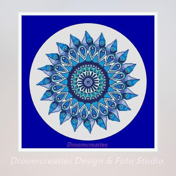 borduurpatroon mandala teardrops blauw